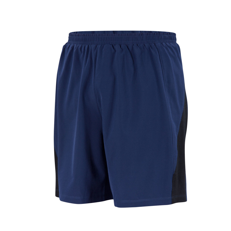 Lightweight aerobic performance short, with internal Merino/spandex knit long brief