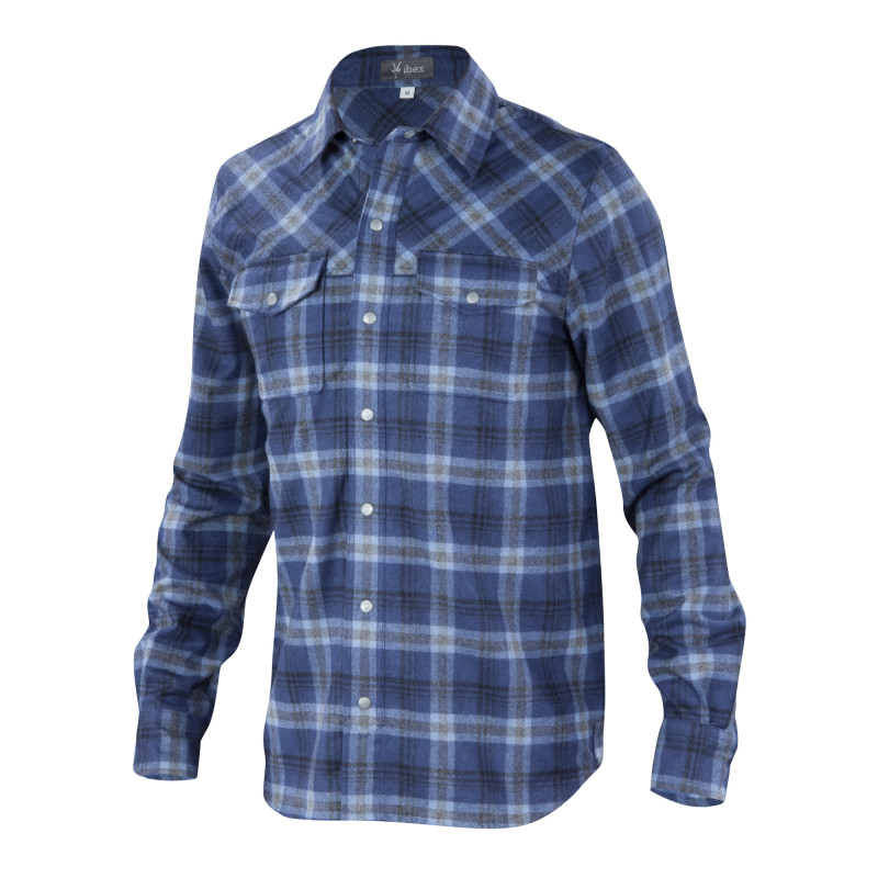 Mid-weight wool blend snap-front shirt