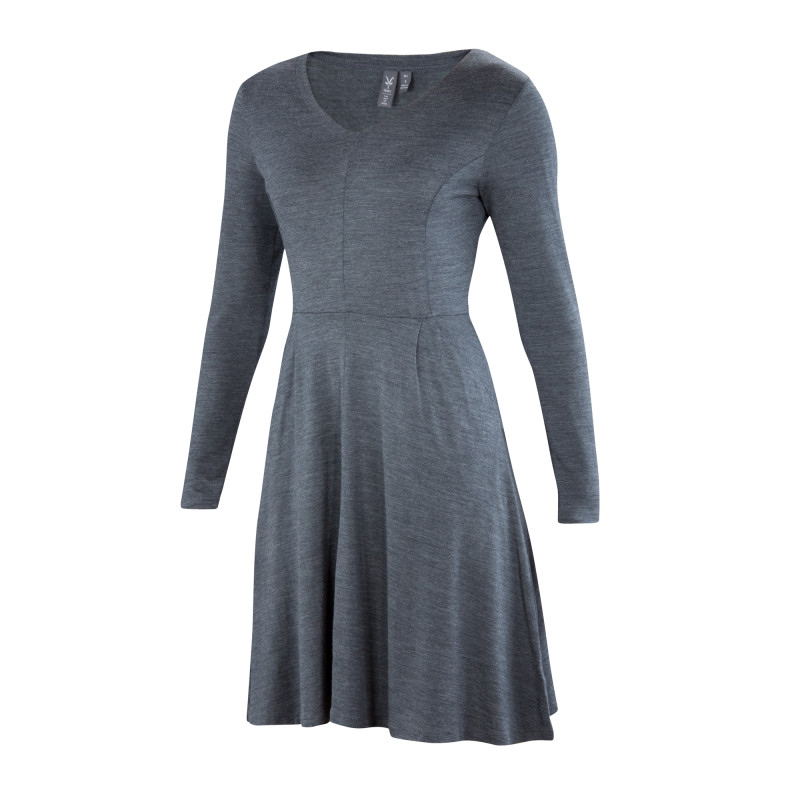 All-season Merino jersey knit fit and flare dress
