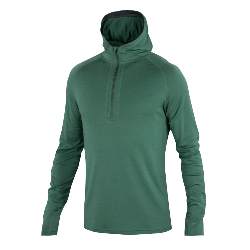 All-season Merino jersey half zip hoody