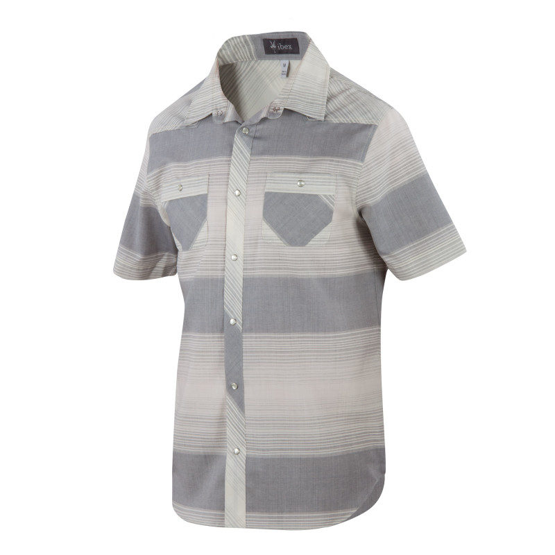 Lightweight wool woven pearl snap-front shirt