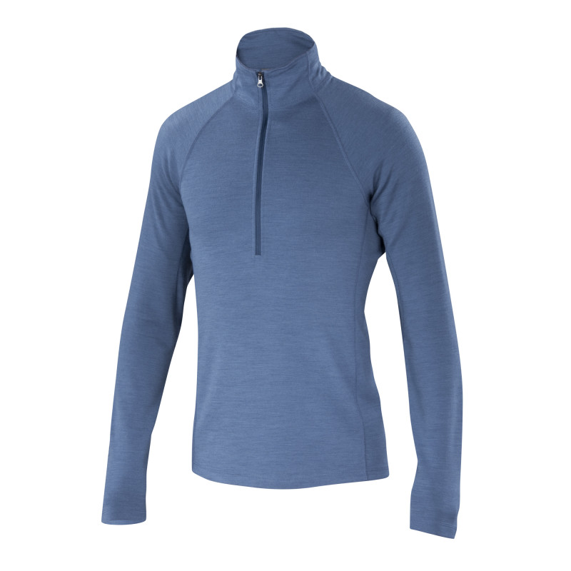 Mid-weight USA wool blend ponte long sleeve half zip