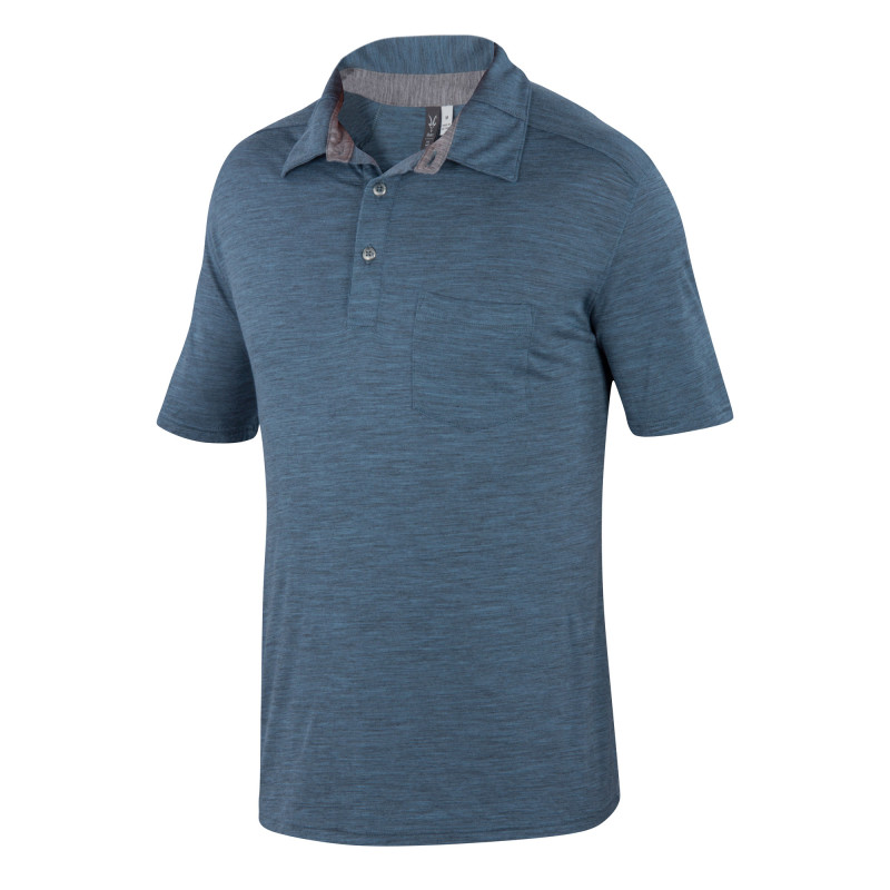 Lightweight overdyed heather Merino polo