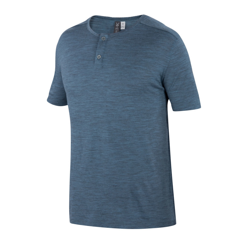 Lightweight overdyed heather Merino henley tee