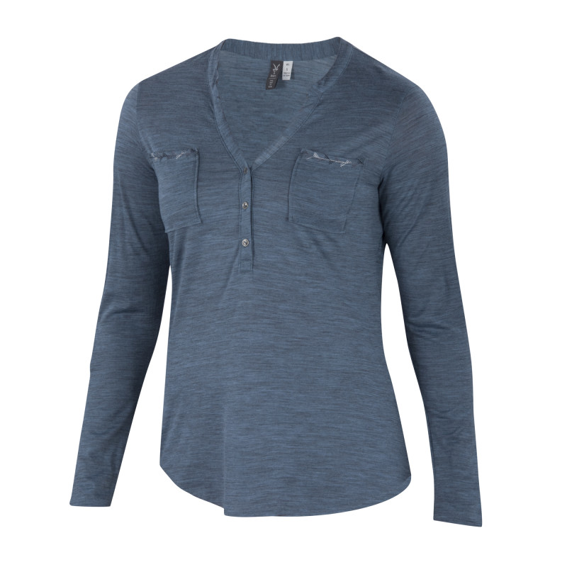 Lightweight overdyed heather Merino long sleeve henley
