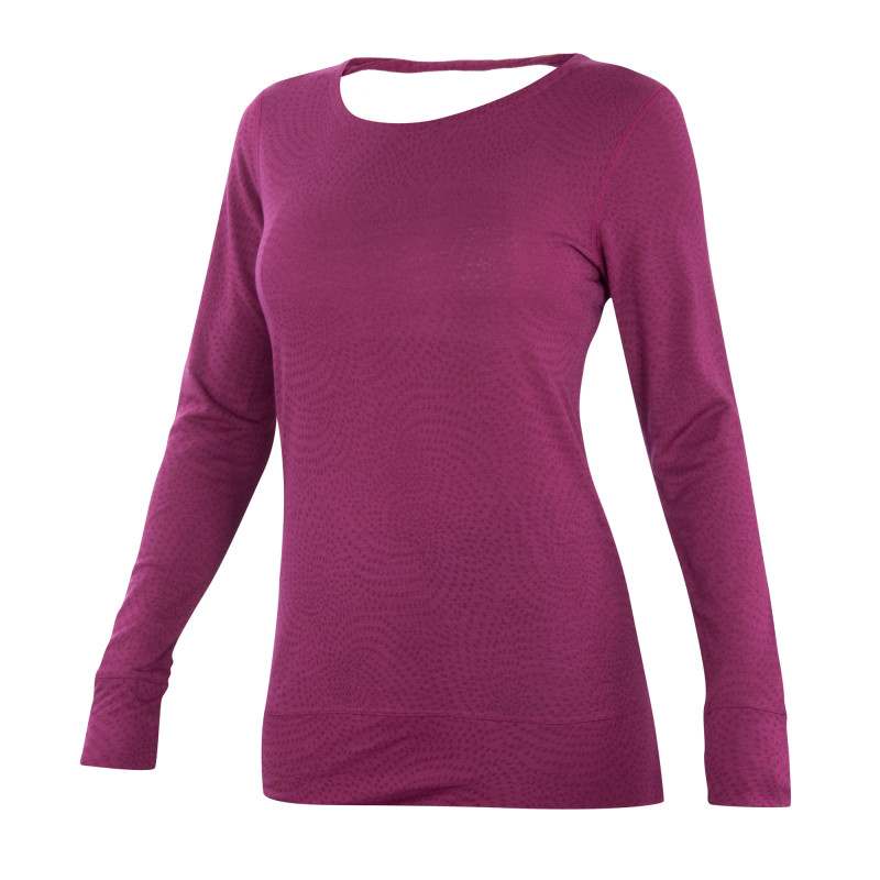 Lightweight semi-sheer jacquard Merino long sleeve top