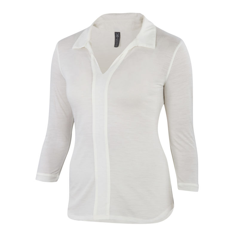 Ultra-fine Merino and silk blend  collared shirt