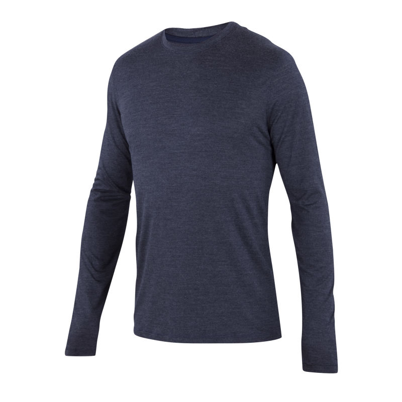 Ultra-fine Merino and silk blend long sleeve crew neck
